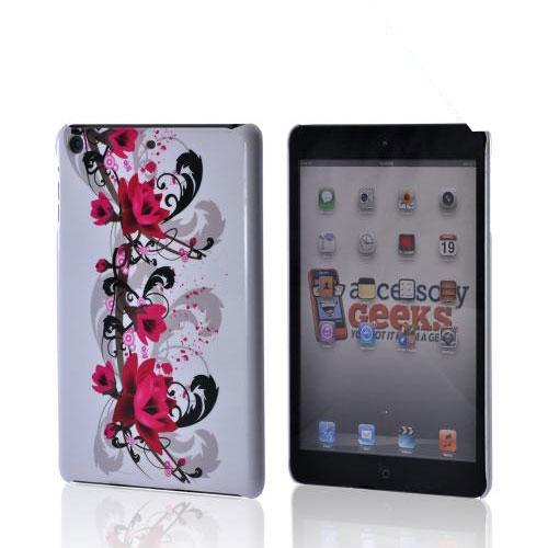 Magenta Flowers & Black Vines on White Hard Case for Apple iPad Mini