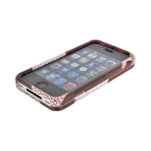 AT&T/ Verizon Apple iPhone 4, iPhone 4S Hard Case - Brown/ White Football