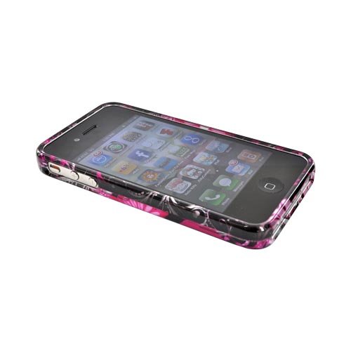Apple Verizon/ AT&T iPhone 4, iPhone 4S Hard Case - Pink Floral on Black