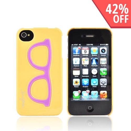 AT&T/ Verizon Apple iPhone 4, iPhone 4S Hard Case - Purple Geek Glasses on Yellow