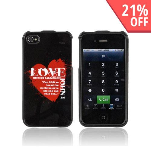 AT&T/ Verizon Apple iPhone 4 Passion Series Hard Case - Red Love John 3:16 on Black