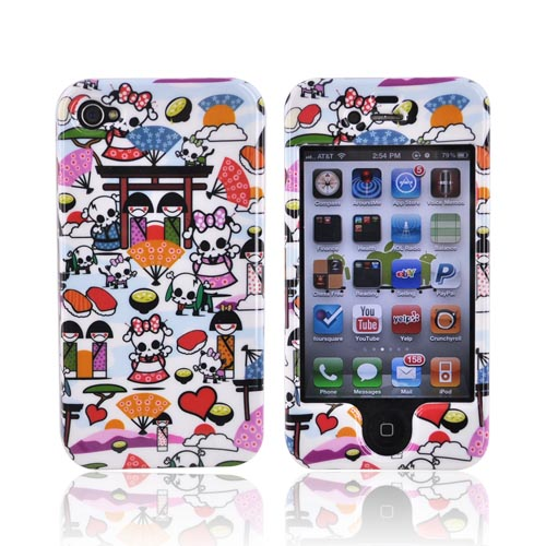 Apple Verizon/ AT&T iPhone 4, iPhone 4S Hard Case - Kawaii Baby Skull Design on White