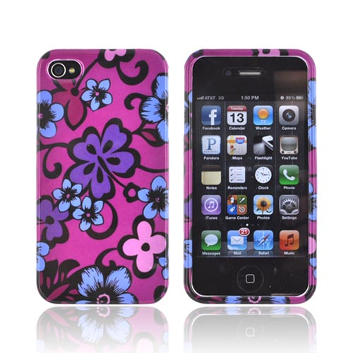 AT&T/ Verizon Apple iPhone 4, iPhone 4S Hard Case - Purple & Blue Hawaiian Flowers on Magenta