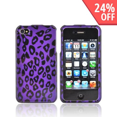 AT&T/ Verizon Apple iPhone 4, iPhone 4S Hard Case - Purple/ Black Leopard