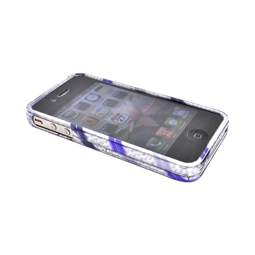 Luxmo Apple Verizon/ AT&T iPhone 4, iPhone 4S Hard Case - Purple/Lavender Stripes on Silver