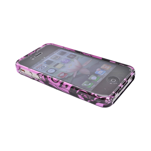 Apple Verizon/ AT&T iPhone 4, iPhone 4S Hard Case - Black Swirls Design on Purple