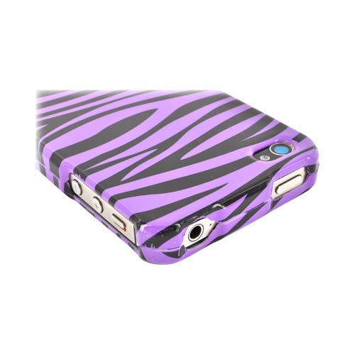 AT&T/ Verizon Apple iPhone 4, iPhone 4S Hard Case - Purple/ Black Zebra
