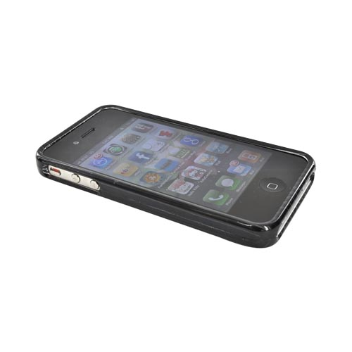 Apple Verizon/ AT&T iPhone 4, iPhone 4S Hard Case - Silver Stripes on Black
