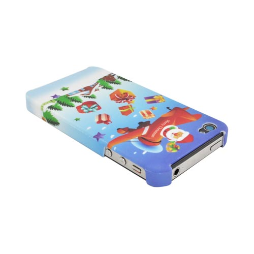 AT&T/ Verizon Apple iPhone 4, iPhone 4S Hard Case - Santa Claus in Plane on Blue