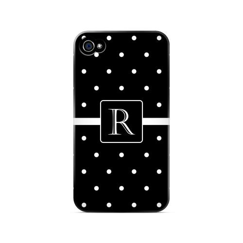 R on Classic Mini Polka Dots - Geeks Designer Line Monogram Series Matte Case for Apple iPhone 4/4S