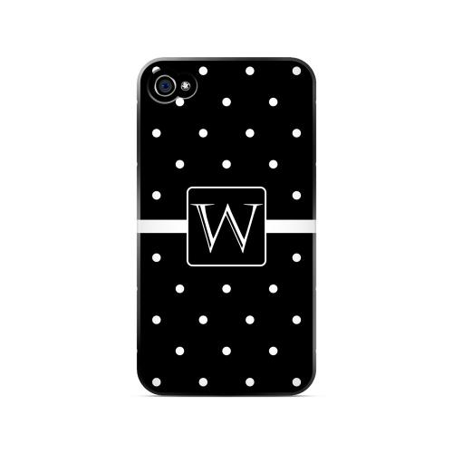 W on Classic Mini Polka Dots - Geeks Designer Line Monogram Series Matte Case for Apple iPhone 4/4S