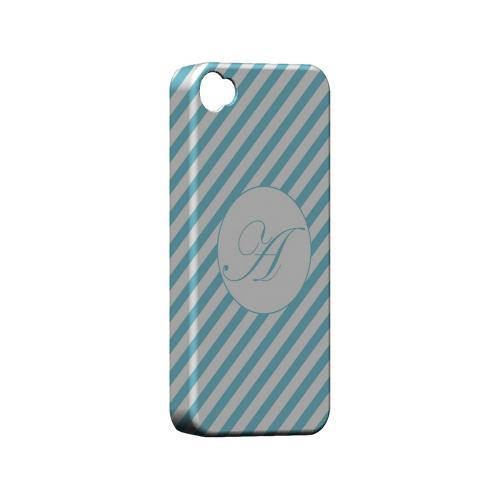 Calligraphy A on Mint Slanted Stripes - Geeks Designer Line Monogram Series Matte Case for Apple iPhone 4/4S
