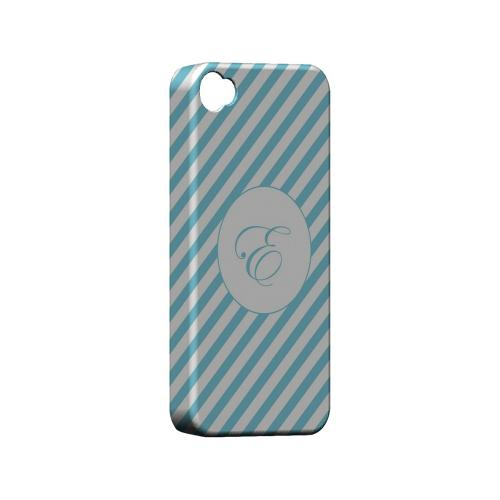 Calligraphy E on Mint Slanted Stripes - Geeks Designer Line Monogram Series Matte Case for Apple iPhone 4/4S