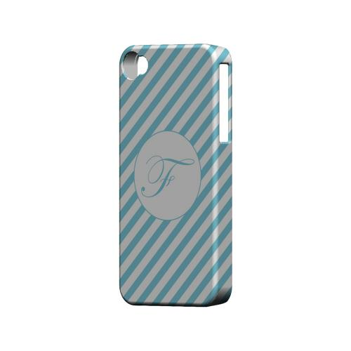 Calligraphy F on Mint Slanted Stripes - Geeks Designer Line Monogram Series Matte Case for Apple iPhone 4/4S