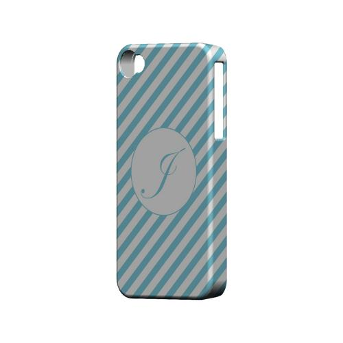 Calligraphy J on Mint Slanted Stripes - Geeks Designer Line Monogram Series Matte Case for Apple iPhone 4/4S
