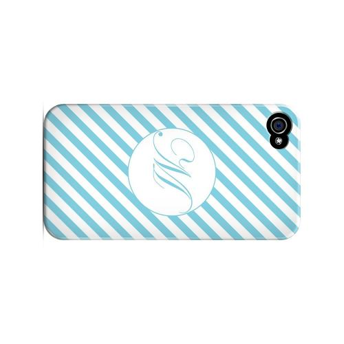 Calligraphy M on Mint Slanted Stripes - Geeks Designer Line Monogram Series Matte Case for Apple iPhone 4/4S
