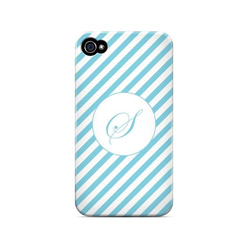 Calligraphy S on Mint Slanted Stripes - Geeks Designer Line Monogram Series Matte Case for Apple iPhone 4/4S