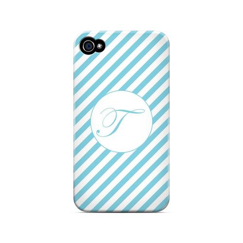 Calligraphy T on Mint Slanted Stripes - Geeks Designer Line Monogram Series Matte Case for Apple iPhone 4/4S