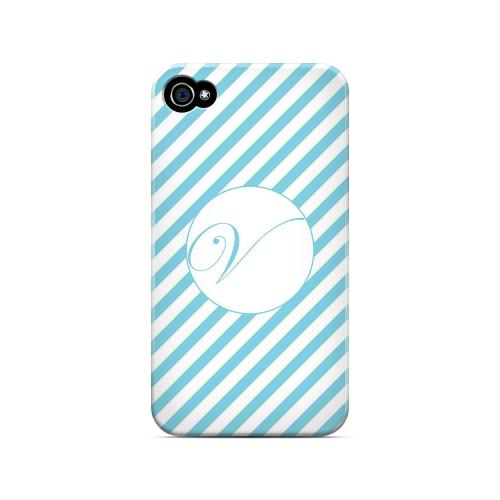 Calligraphy V on Mint Slanted Stripes - Geeks Designer Line Monogram Series Matte Case for Apple iPhone 4/4S