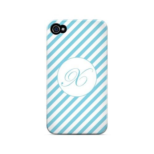 Calligraphy X on Mint Slanted Stripes - Geeks Designer Line Monogram Series Matte Case for Apple iPhone 4/4S