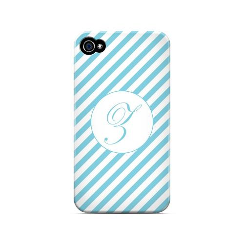 Calligraphy Z on Mint Slanted Stripes - Geeks Designer Line Monogram Series Matte Case for Apple iPhone 4/4S