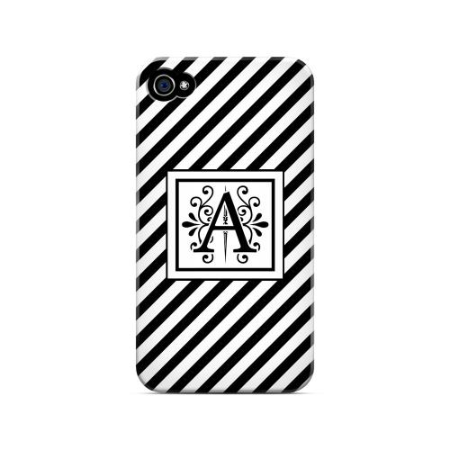 Vintage Vine A On Black Slanted Stripes - Geeks Designer Line Monogram Series Matte Case for Apple iPhone 4/4S
