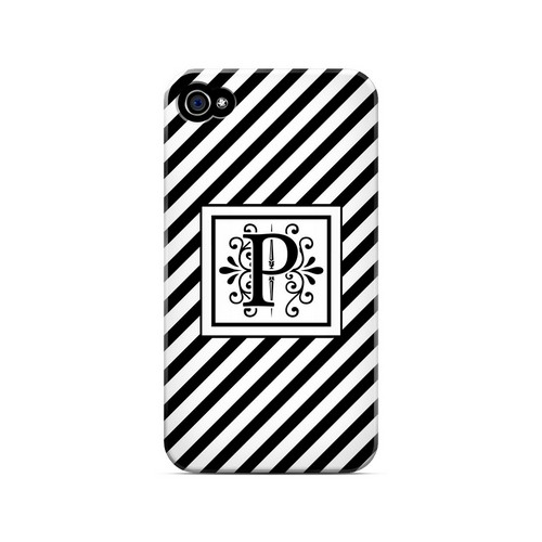 Vintage Vine P On Black Slanted Stripes - Geeks Designer Line Monogram Series Matte Case for Apple iPhone 4/4S