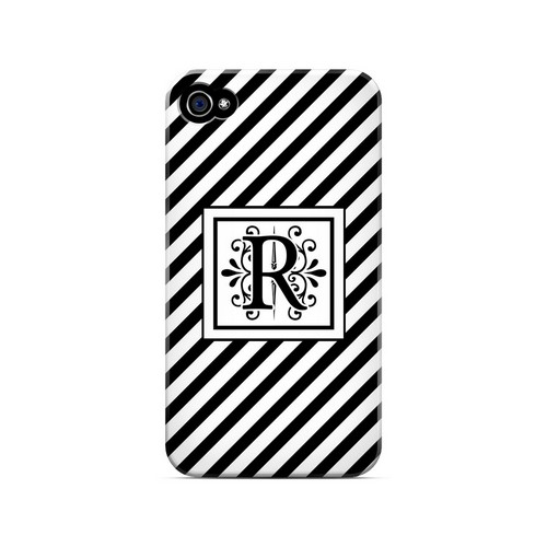 Vintage Vine R On Black Slanted Stripes - Geeks Designer Line Monogram Series Matte Case for Apple iPhone 4/4S