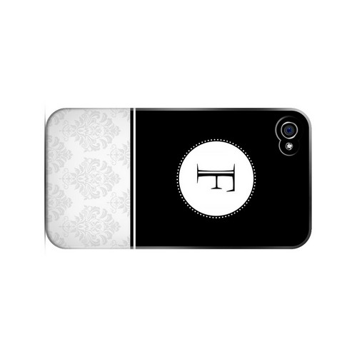 Black F w/ White Damask Design - Geeks Designer Line Monogram Series Matte Case for Apple iPhone 4/4S