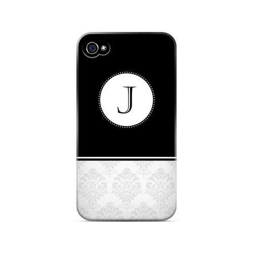 Black J w/ White Damask Design - Geeks Designer Line Monogram Series Matte Case for Apple iPhone 4/4S