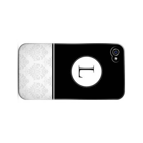 Black L w/ White Damask Design - Geeks Designer Line Monogram Series Matte Case for Apple iPhone 4/4S