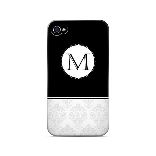 Black M w/ White Damask Design - Geeks Designer Line Monogram Series Matte Case for Apple iPhone 4/4S