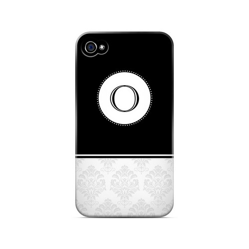 Black O w/ White Damask Design - Geeks Designer Line Monogram Series Matte Case for Apple iPhone 4/4S
