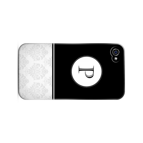 Black P w/ White Damask Design - Geeks Designer Line Monogram Series Matte Case for Apple iPhone 4/4S
