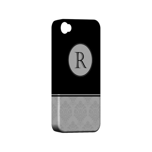 Black R w/ White Damask Design - Geeks Designer Line Monogram Series Matte Case for Apple iPhone 4/4S
