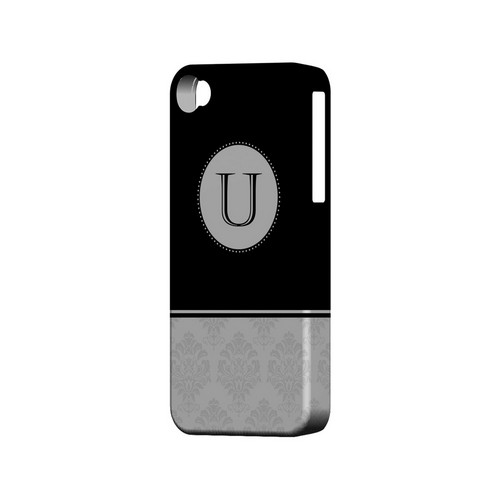 Black U w/ White Damask Design - Geeks Designer Line Monogram Series Matte Case for Apple iPhone 4/4S