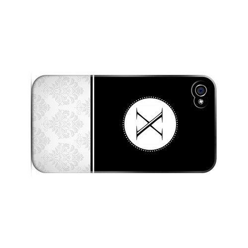 Black X w/ White Damask Design - Geeks Designer Line Monogram Series Matte Case for Apple iPhone 4/4S