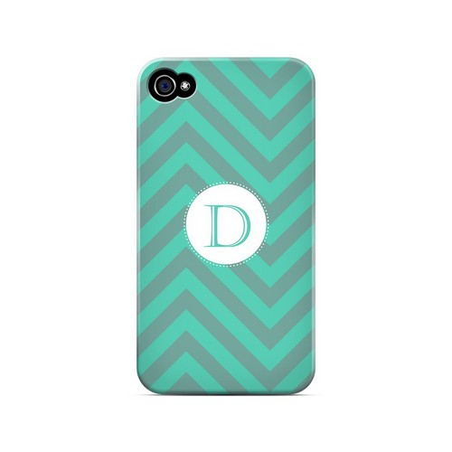 Seafoam Green D on Zig Zags - Geeks Designer Line Monogram Series Matte Case for Apple iPhone 4/4S