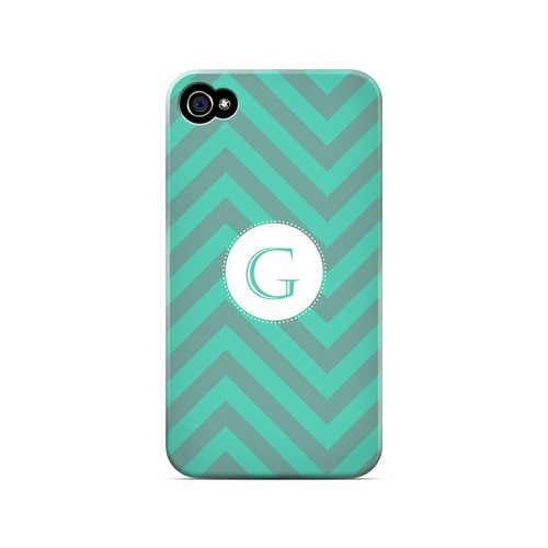 Seafoam Green G on Zig Zags - Geeks Designer Line Monogram Series Matte Case for Apple iPhone 4/4S