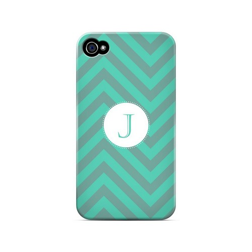 Seafoam Green J on Zig Zags - Geeks Designer Line Monogram Series Matte Case for Apple iPhone 4/4S