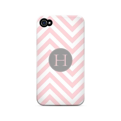 Gray Button H on Pale Pink Zig Zags - Geeks Designer Line Monogram Series Matte Case for Apple iPhone 4/4S