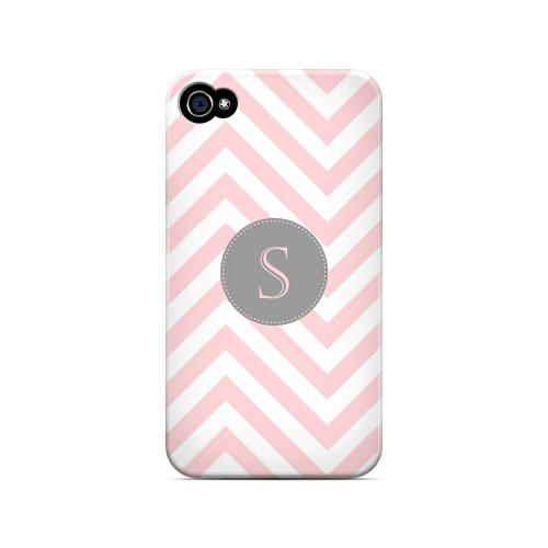 Gray Button S on Pale Pink Zig Zags - Geeks Designer Line Monogram Series Matte Case for Apple iPhone 4/4S