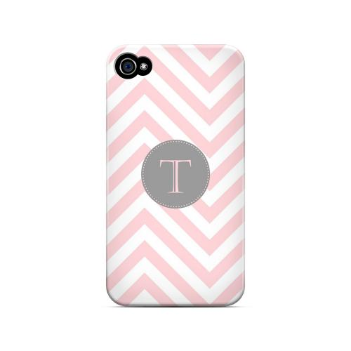 Gray Button T on Pale Pink Zig Zags - Geeks Designer Line Monogram Series Matte Case for Apple iPhone 4/4S