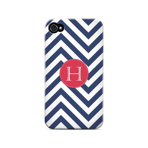 Cherry Button H on Navy Blue Zig Zags - Geeks Designer Line Monogram Series Matte Case for Apple iPhone 4/4S
