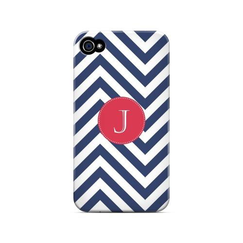 Cherry Button J on Navy Blue Zig Zags - Geeks Designer Line Monogram Series Matte Case for Apple iPhone 4/4S