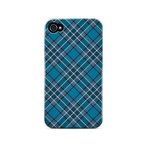 Dark Aqua/ White Plaid - Geeks Designer Line Checker Series Matte Case for Apple iPhone 4/4S