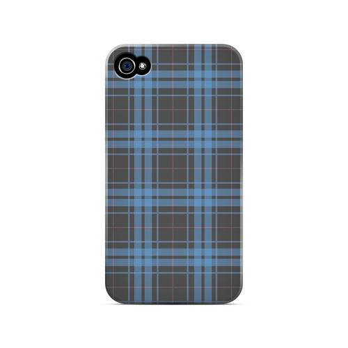 Blue/ Gray/ Pink Plaid - Geeks Designer Line Checker Series Matte Case for Apple iPhone 4/4S