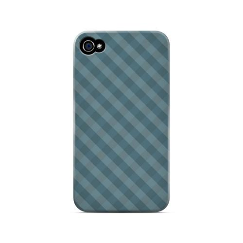 Blue/ Green/ White/ Gray Plaid - Geeks Designer Line Checker Series Matte Case for Apple iPhone 4/4S