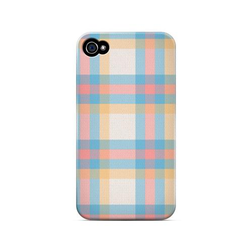 Blue/ Pink/ Orange Plaid Fabric - Geeks Designer Line Checker Series Matte Case for Apple iPhone 4/4S