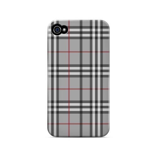 Classic Gray/ White/ Red Plaid - Geeks Designer Line Checker Series Matte Case for Apple iPhone 4/4S